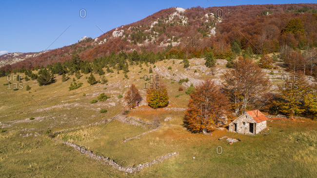 Aerial view of highest Croatian mountain Dinara  landscape and old house on it. Situated near the city of Knin in Dalmatia, Croatia.