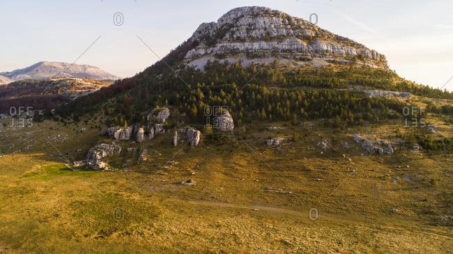 Aerial view of highest Croatian mountain Dinara  landscape. Situated near the city of Knin in Dalmatia, Croatia.