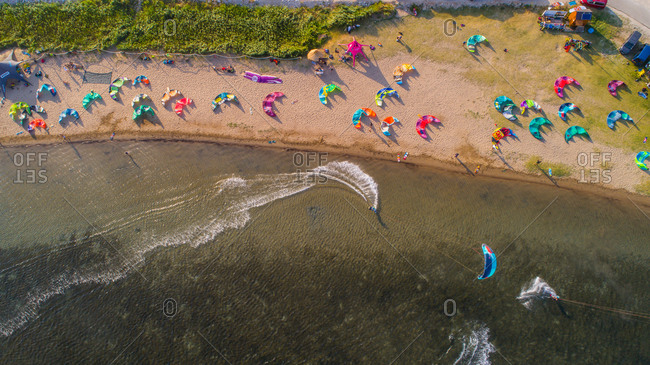 July 3, 2019: Aerial view of kitesurfers at Neretva river delta, one of the best places for kitesurfing in Croatia. Situated near the city of Polce in Dalmatia, Croatia.
