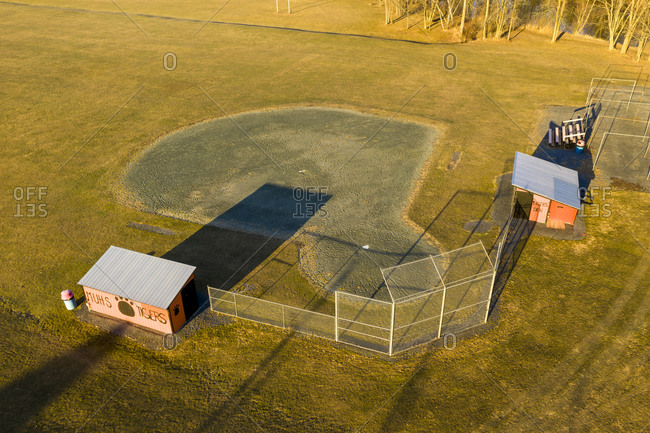 Middlebury, Vermont - March 18, 2020: Empty high school sports field