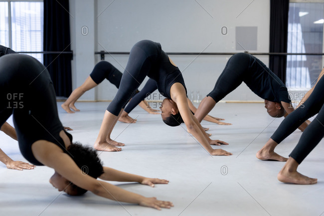 Side view of a multi-ethnic group of fit male and female modern dancers wearing black outfits practicing a dance routine during a dance class in a bright studio, stretching up.