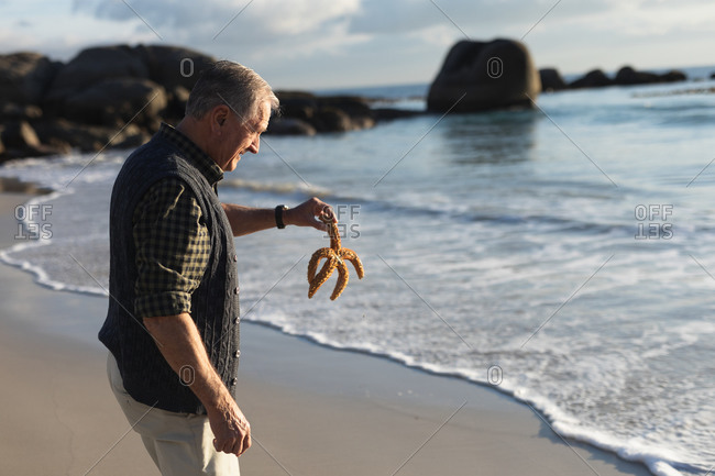 Side view of a senior Caucasian man exploring alone on a beach, holding a starfish on the sand, with blue sky and sea in the background