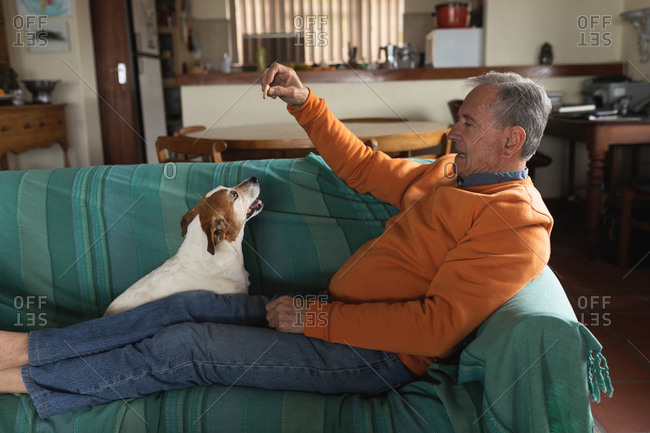 Side view of a senior Caucasian man relaxing at home in his living room, sitting on the sofa with his legs up playing with his pet dog and giving him a treat