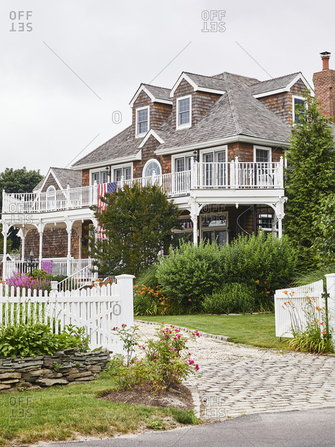 Typical beachside home with cobblestone driveway in Long Island, New York