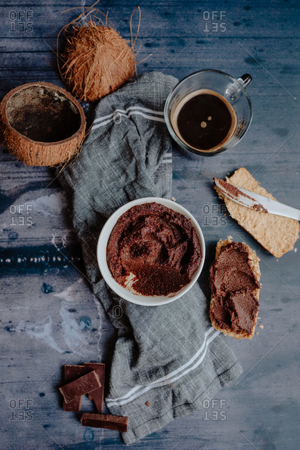 Homemade raw hazelnut spread with no added sugar and coffee