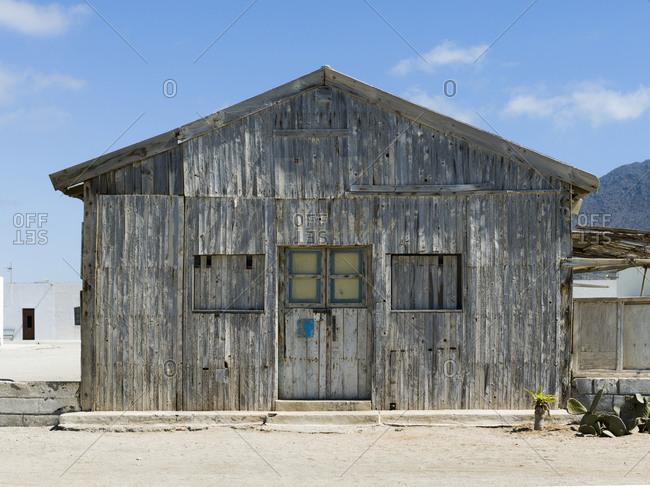 Old wooden cabin in Salinas de Cabo de Gata, Almeria, Spain