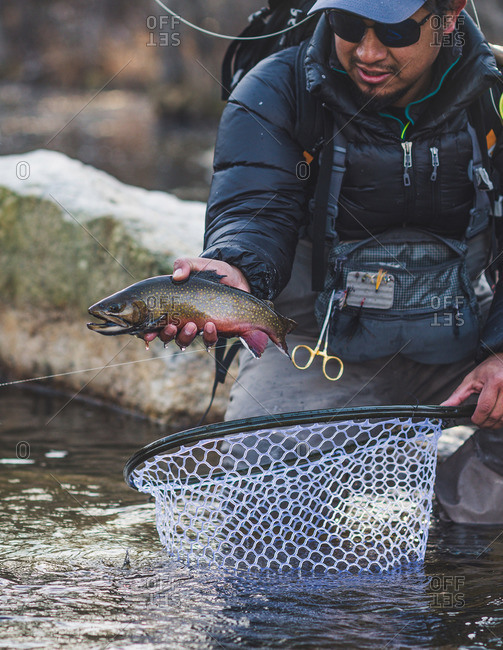 A man catches a brook trout on a cold Maine morning