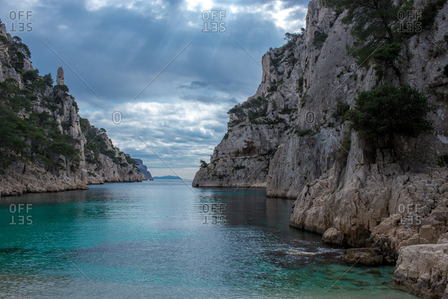 Bay and pristine fjord in Provence, France