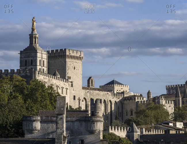 Avignon, Provence-Alpes-Cote d'Azur, France - October 9, 2019: The famous pope palace in Avignon - France