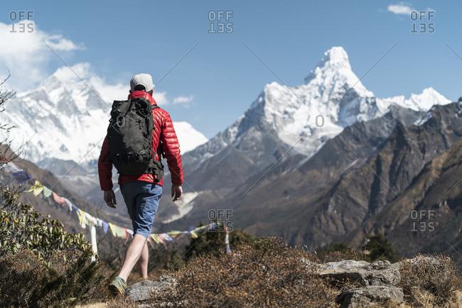 Man hiking on the Ama Dablam expedition, Khumbu, Nepal