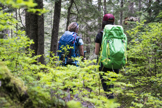 Two female hikers on a trail in the Mt. Baker Wilderness