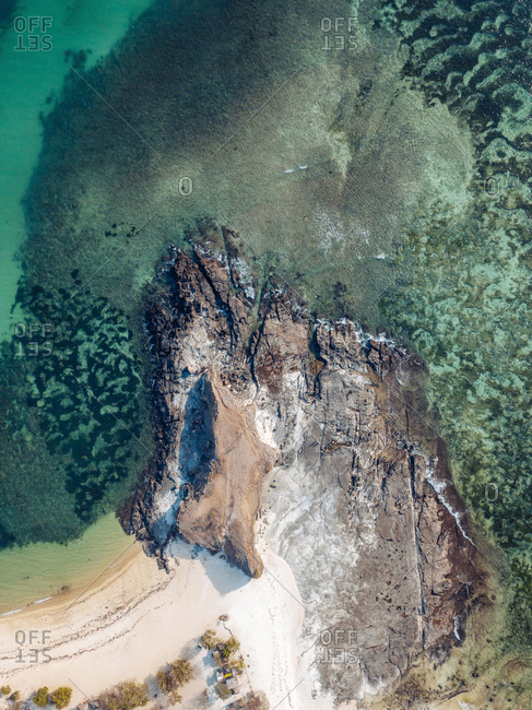 Aerial view of Tanjung Aan Beach, Lombok, Indonesia