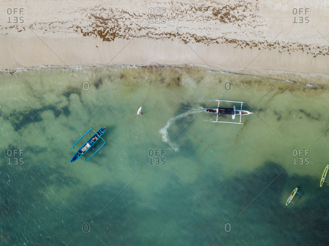 Aerial view of traditional boats
