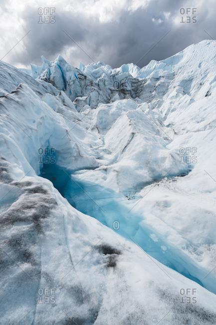 Scenic View of blue lake on Perito Moreno glacier