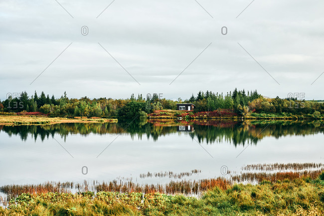 Landscape of lonely coastal house and colorful forest