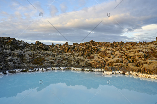 Geothermal spring in cloudy day
