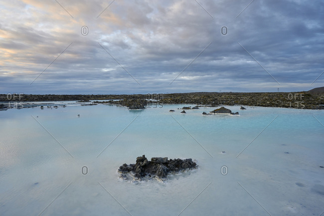 Panoramic landscape of geothermal spring in cloudy day
