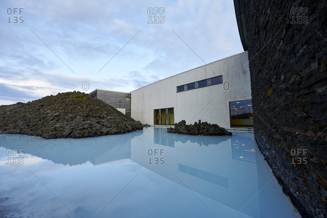 Grindavik, Iceland - February 21, 2020: Natural geothermal lake near and hotel on island