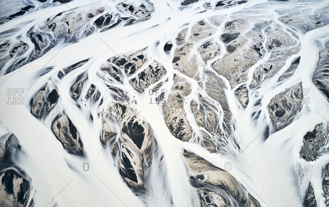 Frozen mountain streams covering nearby landscape