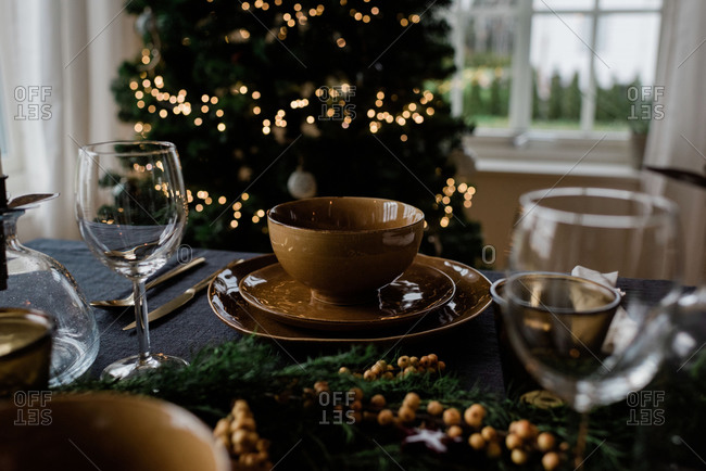 Place setting on a decorated festive table setting