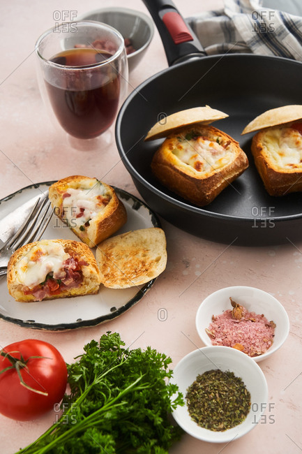 Ham and cheese stuffed baguettes
