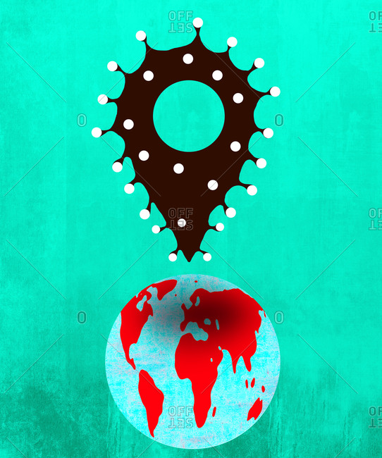 Virus epicenter pinpoint on top of globe