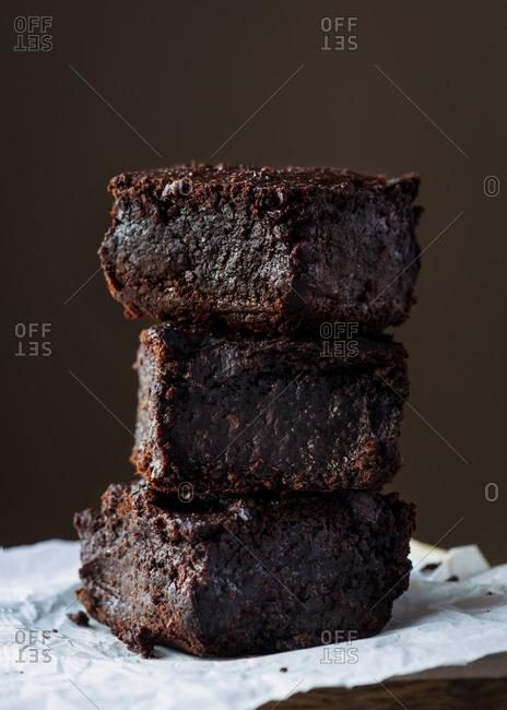Chocolate brownies plant based cake made with sweet potato
