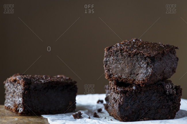 Plant based chocolate brownies cake made with sweet potato