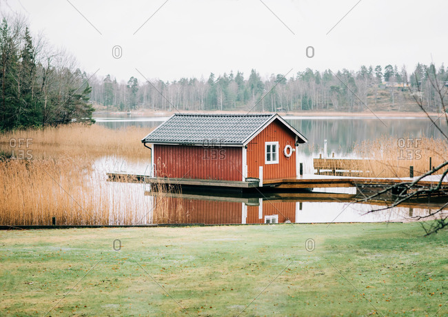 Traditional Swedish hut on the Baltic Sea