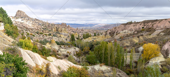 Panorama of Goreme and Uchisar on cloudy October day in Turkey