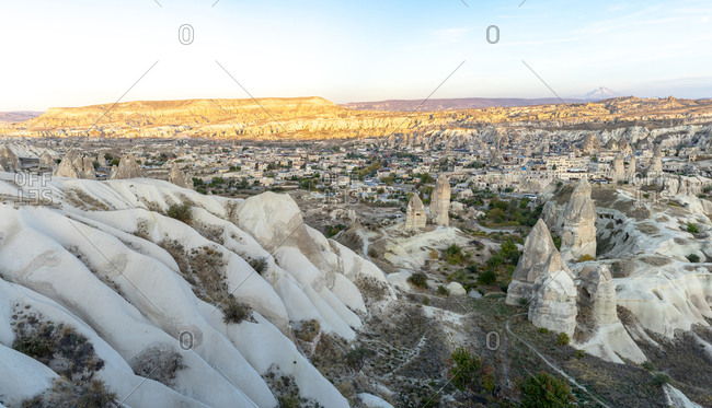 Panorama of Goreme and Mt Erciyes during fall sunset in Turkey
