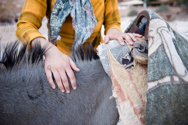 A female tourist makes a friend with a local donkey in Petra.