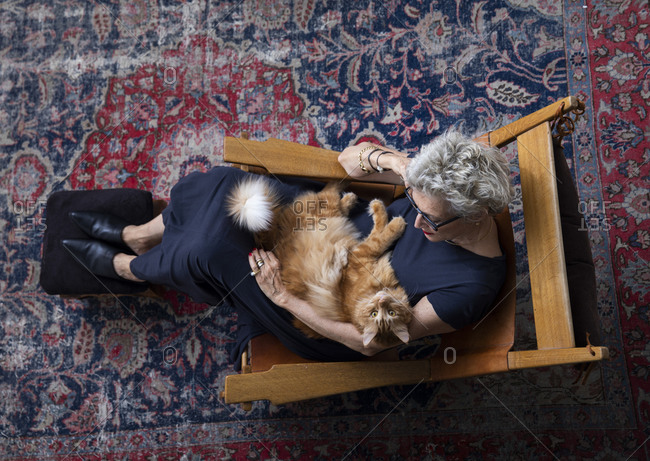 A senior woman sitting on an arm chair in the living room, holding her cat, top view