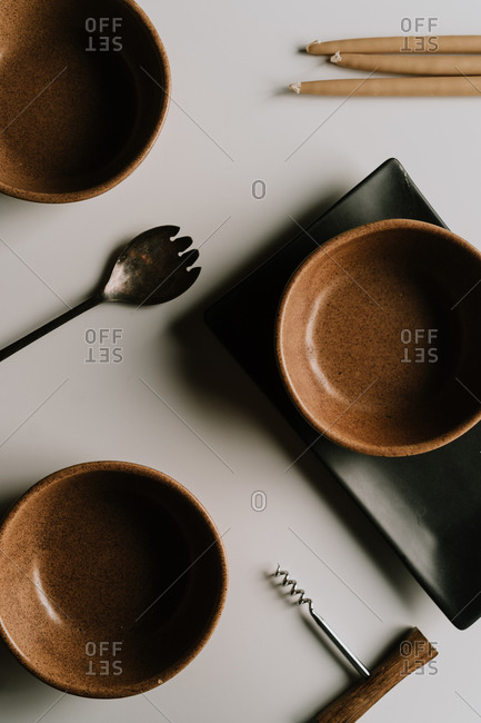 Collection of table top items on white surface