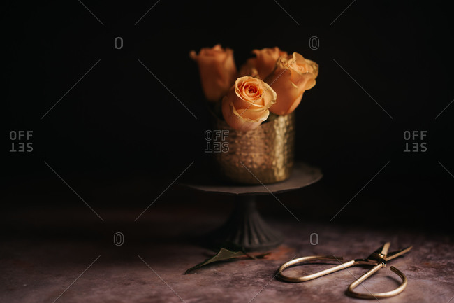 Peach colored roses on table in sweet vase