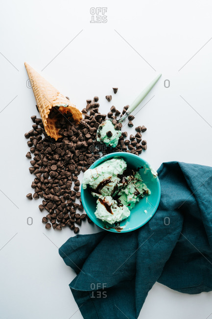Bright ice cream with cone and toppings