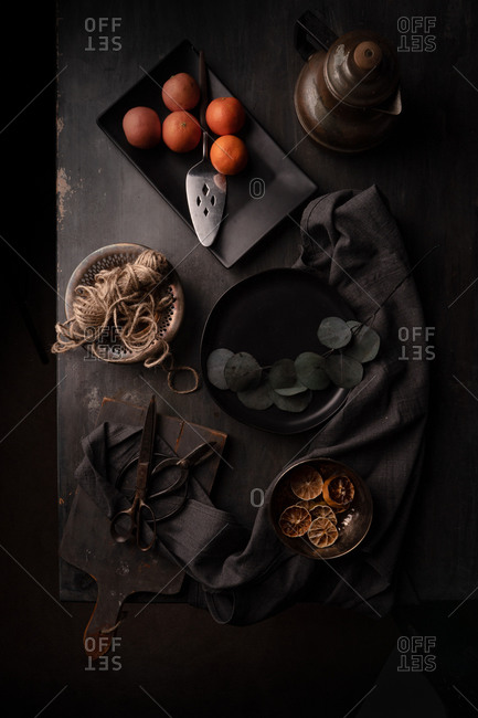 Dark moody kitchen wooden work table
