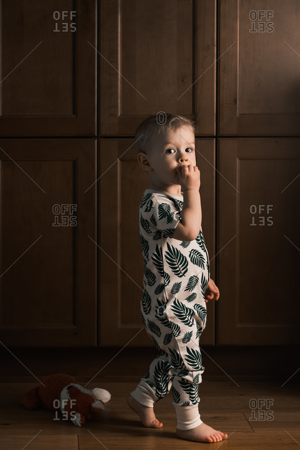 Toddler boy walking by stuffed toy fox on floor