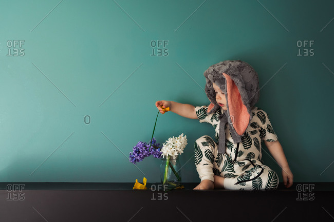 Toddler boy picking flowers from jar while wearing a bunny rabbit bonnet