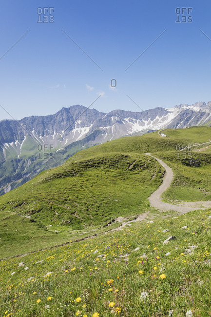 Switzerland- St Gallen Canton- Glarus Alps- Panoramic hiking trail in the Tectonic Arena Sardona