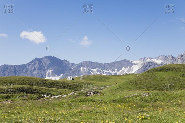 Switzerland- St Gallen Canton- Glarus Alps- Panoramic hiking trail in the Tectonic Arena Sardona