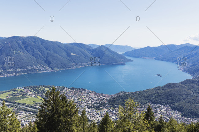 View from Cimetta mountain top to Lago Maggiore- Locarno- Ticino- Switzerland