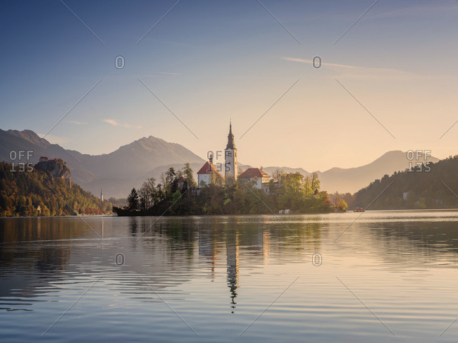 Slovenia- Bled- Lake Bled at dawn with Assumption Of Mary Church in background