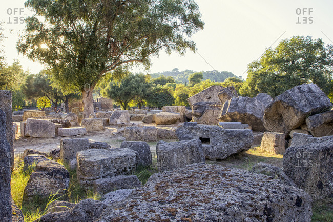 Greece- Olympia- Ruins of ancient Temple of Zeus at sunset