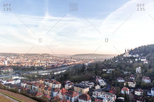 Germany- Bavaria- Wurzburg- Sky over city at dusk