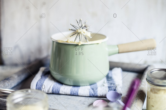 Saucepan with homemade vanilla custard