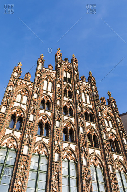 Germany- Mecklenburg-Western Pomerania- Greifswald- Low angle view of gothic residential warehouse