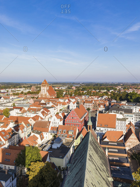 September 23, 2019: Germany- Mecklenburg-Western Pomerania- Greifswald- Clear sky old town