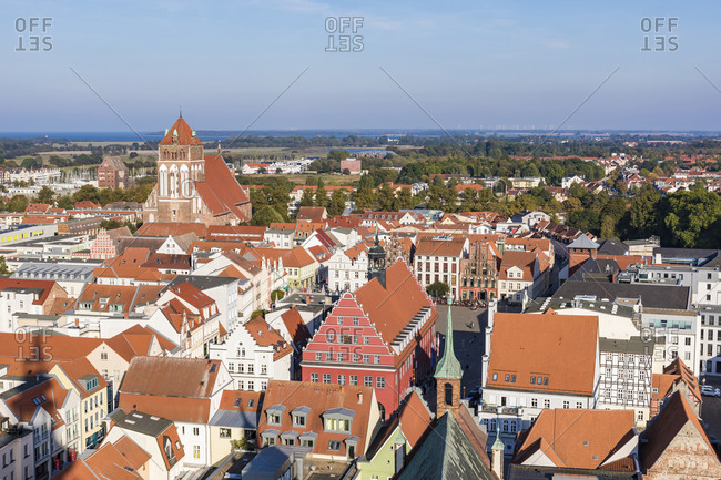 September 23, 2019: Germany- Mecklenburg-Western Pomerania- Greifswald- High angle view of buildings surrounding old town market square