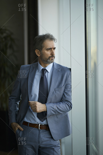 Portrait of a mature businessman looking out of window